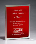 Glass Plaque with Red Center and Mirror Border Achievement Awards
