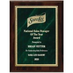 Green Marble Florentine Plate on Walnut Finish Board Achievement Awards