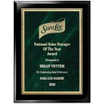 Green Marble Florentine Plate on Ebony Finish Board Achievement Awards