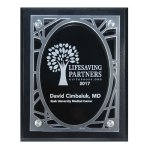 Frosted Acrylic Decorative Edge Cutout on Black Plaque Achievement Awards