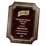 Genuine Walnut Notched Corner Plaque with Marble Mist Sales Awards