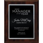 Simplicity Plate on Walnut Finish Board Sales Awards
